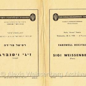 1950 June 28 Programme Haifa Farewell 1