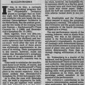 1980 November The NY Times about Rachmaninov 3rd