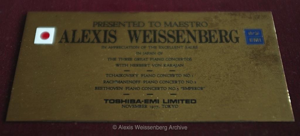 1977 Gold Disc Award EMI Japan detail