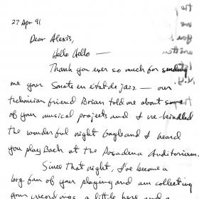 1991 Chick Corea letter front