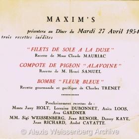 1954 Maxims Recipes