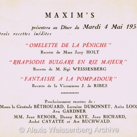 1954 Maxims Recipes: Rhapsodie Bulgare en Riz Majeur