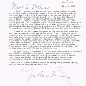 Letter from Yehudi Menuhin 1986
