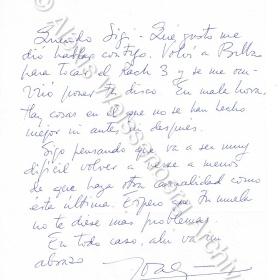 Letter from Joaquín Achúcarro 1990