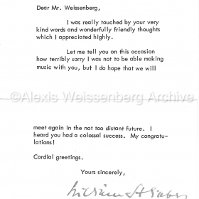 1967 Letter from William Steinberg