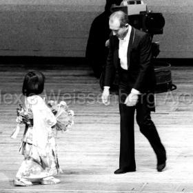 1977 in Osaka receiving flowers