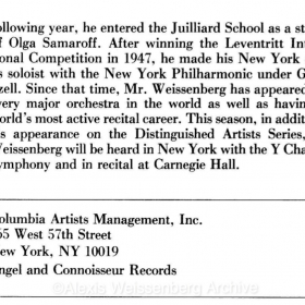 1983 November The 92nd Street Y, Kaufmann Concert Hall, Schumann Recital 4