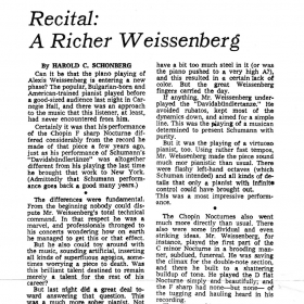 1977 October The New York Times review by Harold C. Schonberg
