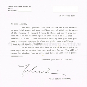 1986 Letter from Menuhin
