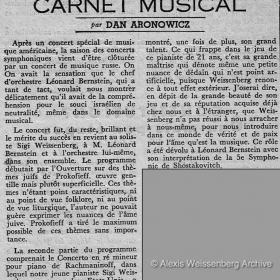 1950 Carnet Musical Rachmaninov 3rd with Bernstein