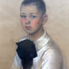 Charcoal drawing of Alexis Weissenberg as a child