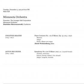 1975 December Brahms 1st Skrowaczewski Carnegie
