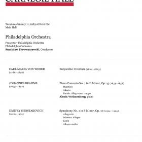 1983 January Brahms 1st Skrowaczewski Carnegie