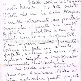 1992 Letter from film director Mauro Bolognini
