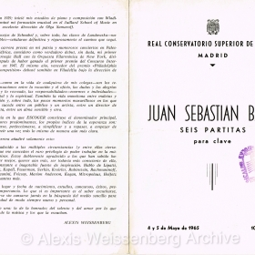 1965 May Madrid Conservatory Bach recital 1