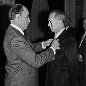 With Mitterrand at the Légion D'Honneur ceremony in 1984