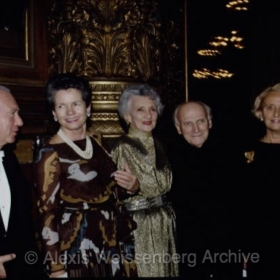 With Yehudi and Diana Menuhin, Mrs. Giscard D'Estaing and Mrs. Chirac